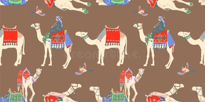 Naadloos patroon met verschillende Egyptische kameel stock illustratie