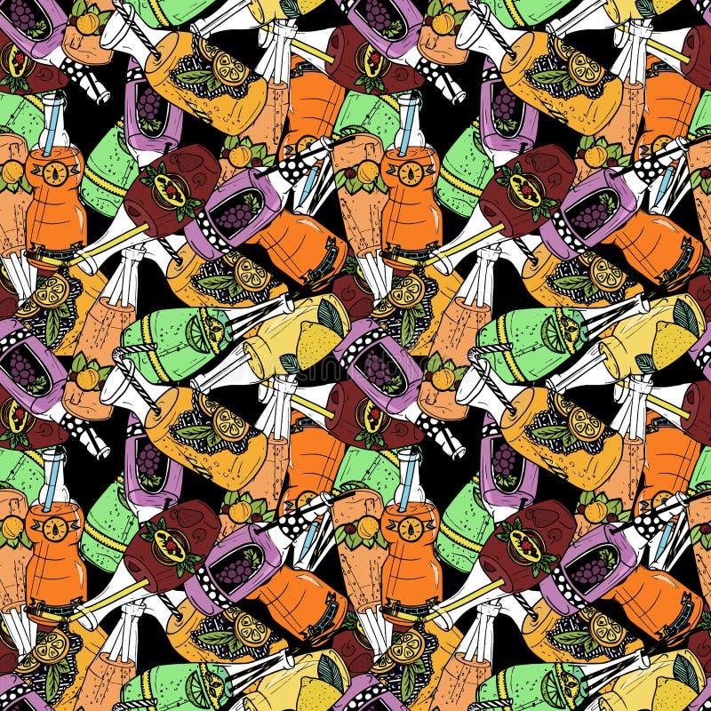 Naadloos patroon met verschillende gebottelde dranken stock illustratie