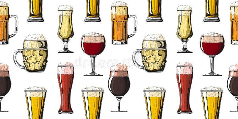 Naadloos patroon met verschillende glazen met bier, verschillende mokken bier Vector illustratie royalty-vrije stock fotografie