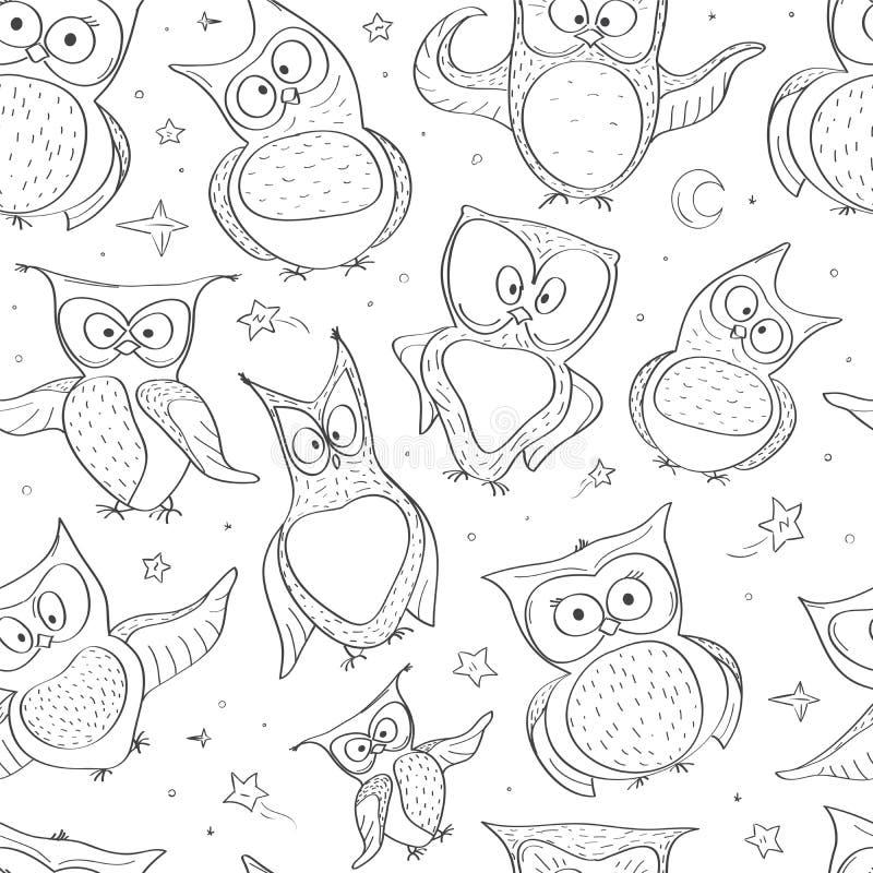Naadloos Patroon met Verschillende Grappige Uilen Creatieve Hand Getrokken Textuur royalty-vrije illustratie