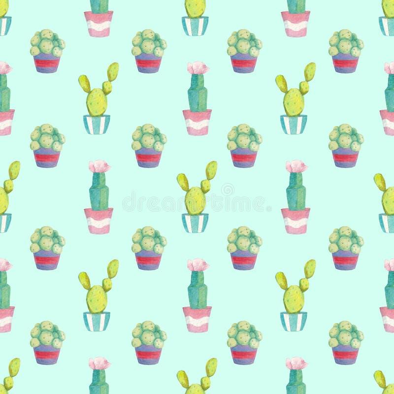 Naadloos patroon met verschillende groene cactussen in multi-colored potten stock illustratie