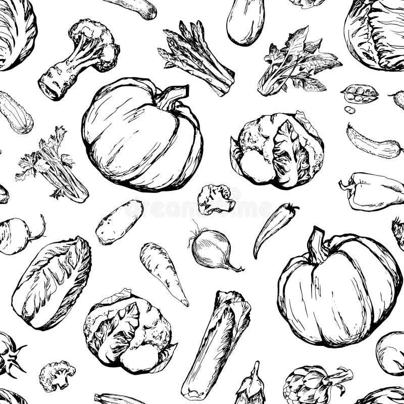 Naadloos patroon met verschillende groenten vector illustratie