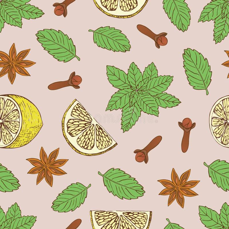 Naadloos patroon met verschillende ingrediënten voor het aardige thee drinken royalty-vrije illustratie