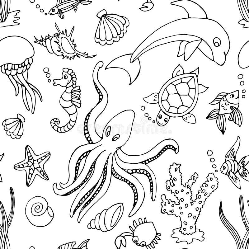 Naadloos patroon met verschillende overzeese schepselen royalty-vrije illustratie