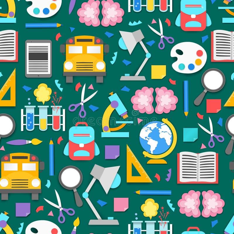 Naadloos patroon met verschillende schoollevering op groene scherpe matachtergrond Decoratieelementen voor terug naar school vector illustratie
