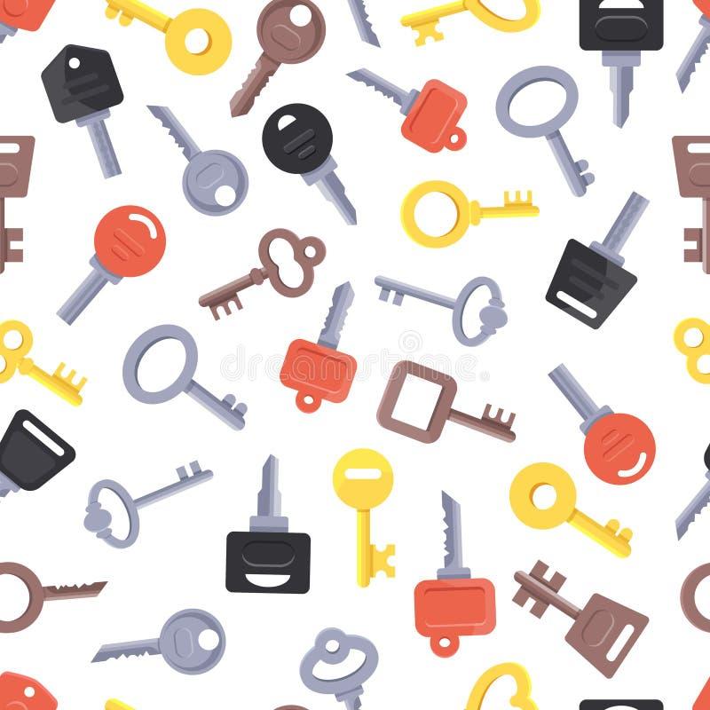 Naadloos patroon met verschillende sleutels stock illustratie