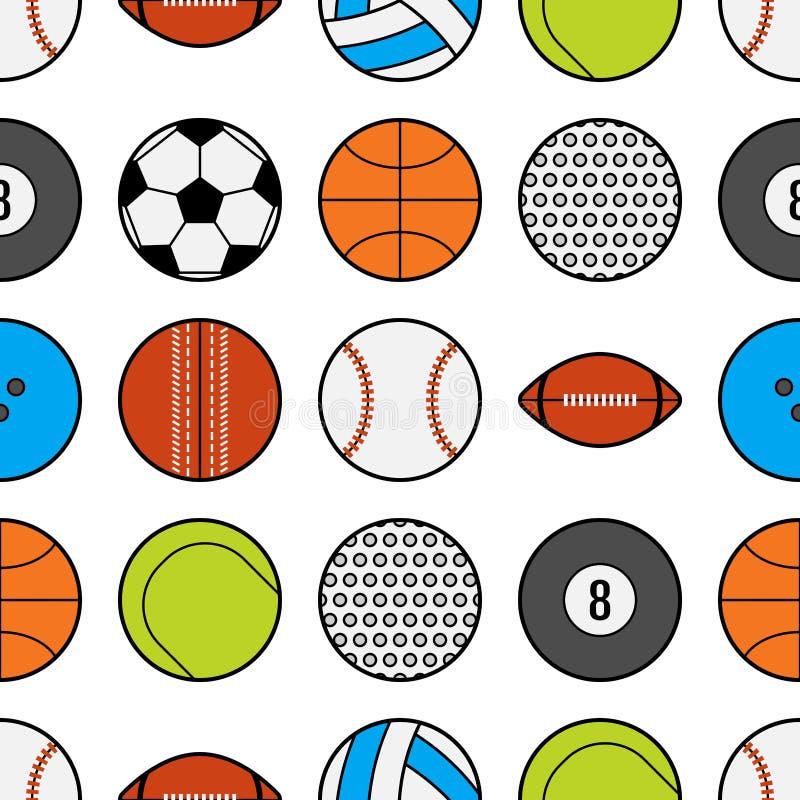 Naadloos patroon met verschillende sportballen Vlakke pictogrammen en voorwerpen stock illustratie