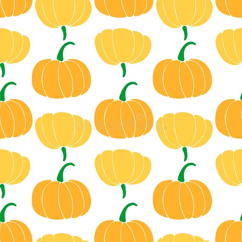 Naadloos patroon met verschillende verscheidenheden van pompoenen flessenpompoen; cinderellaverscheidenheid; butternut vector illustratie