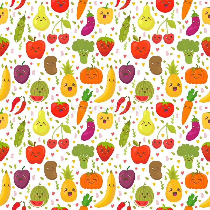 Naadloos patroon met verse groenten en vruchten Vegetarische bedelaars royalty-vrije illustratie
