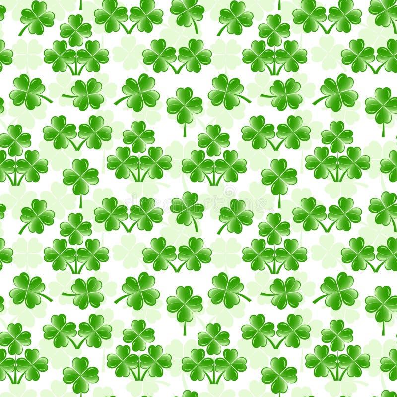 naadloos patroon met vier bladerenklaver vector illustratie