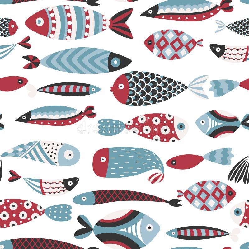 Naadloos patroon met vissen Hand getrokken onderzeese wereld Kleurrijke artistieke achtergrond Aquarium royalty-vrije illustratie