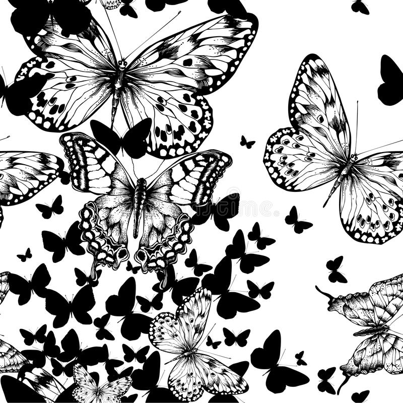 Naadloos patroon met vliegende vlinders, hand dra royalty-vrije illustratie