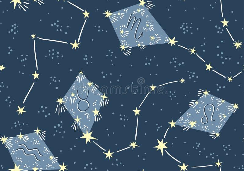 Naadloos patroon met vliegers in de sterhemel Vector de stoffenontwerp van de nachtastrologie vector illustratie