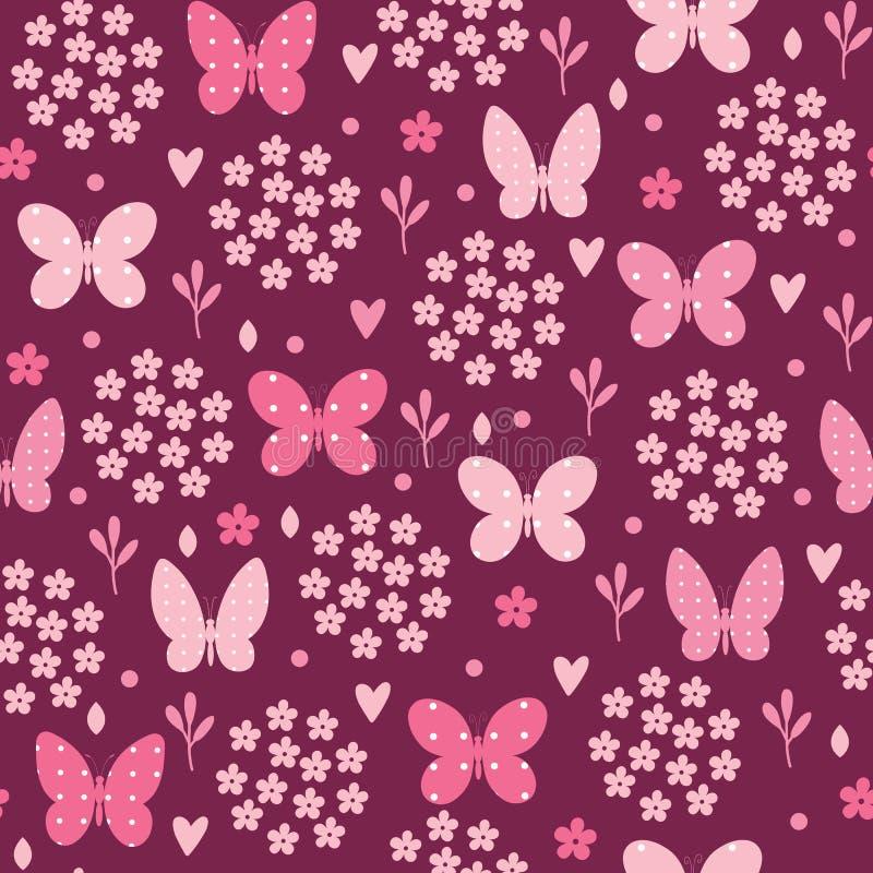 Naadloos patroon met vlinder, bloemen en harten Vectorillu stock illustratie