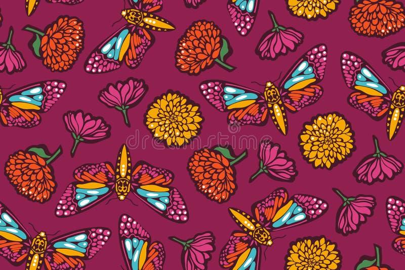 Naadloos patroon met vlindersmotten en bloemen met goudsbloemen Mexicaanse Dag van de Doden stock illustratie