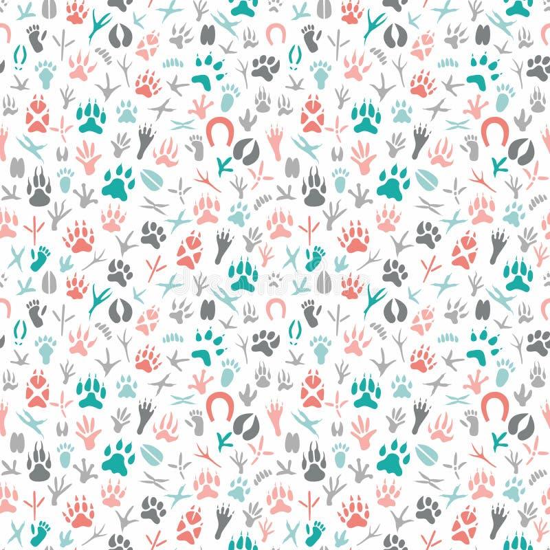 Naadloos patroon met voetafdruk van vogels en dieren vector illustratie