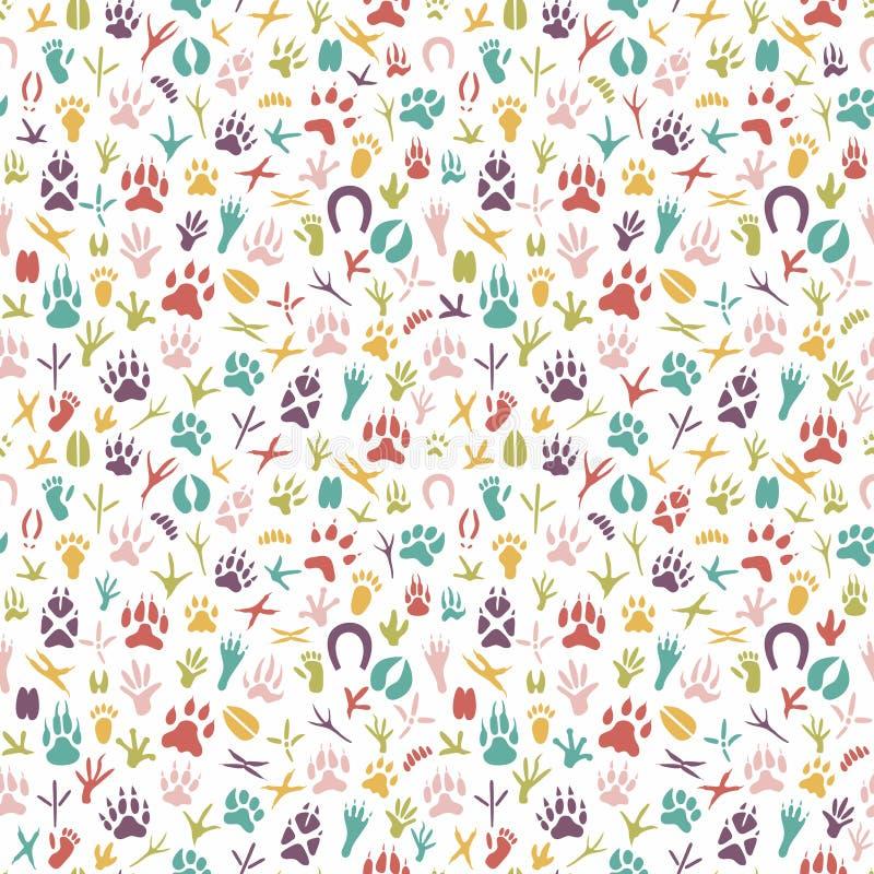 Naadloos patroon met voetafdruk van vogels en dieren stock illustratie