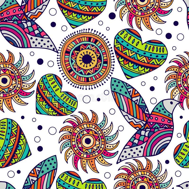 Naadloos patroon met vogel en hart in de stijl van boho stock illustratie
