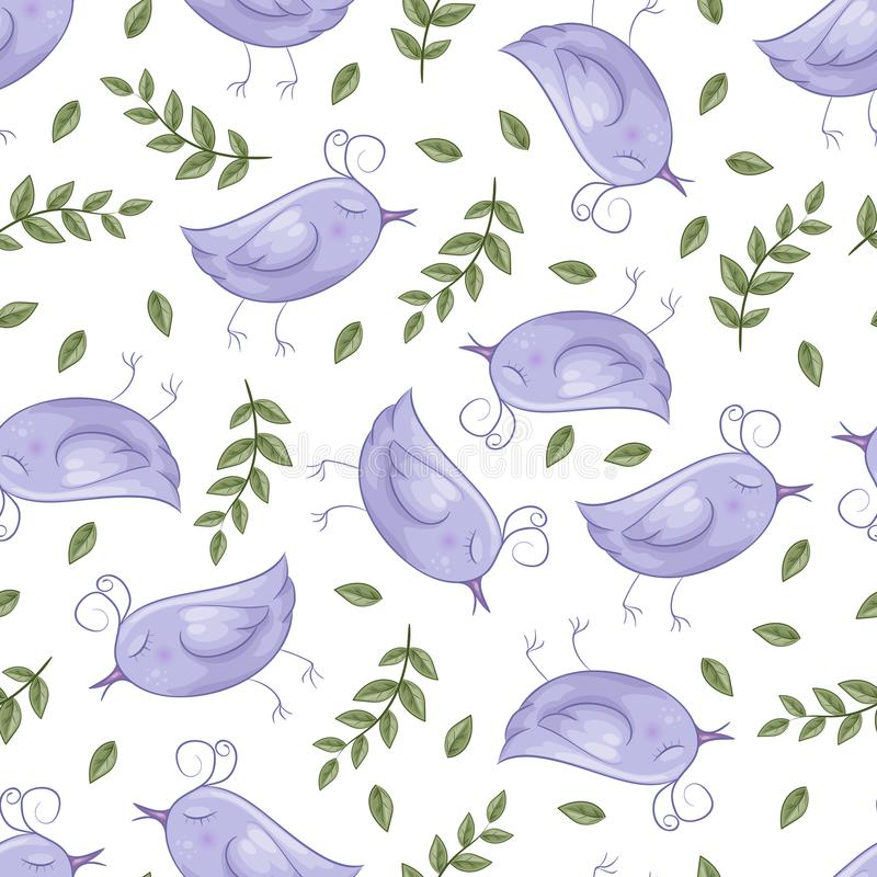 Naadloos patroon met vogels in beeldverhaalstijl Vector illustratie vector illustratie