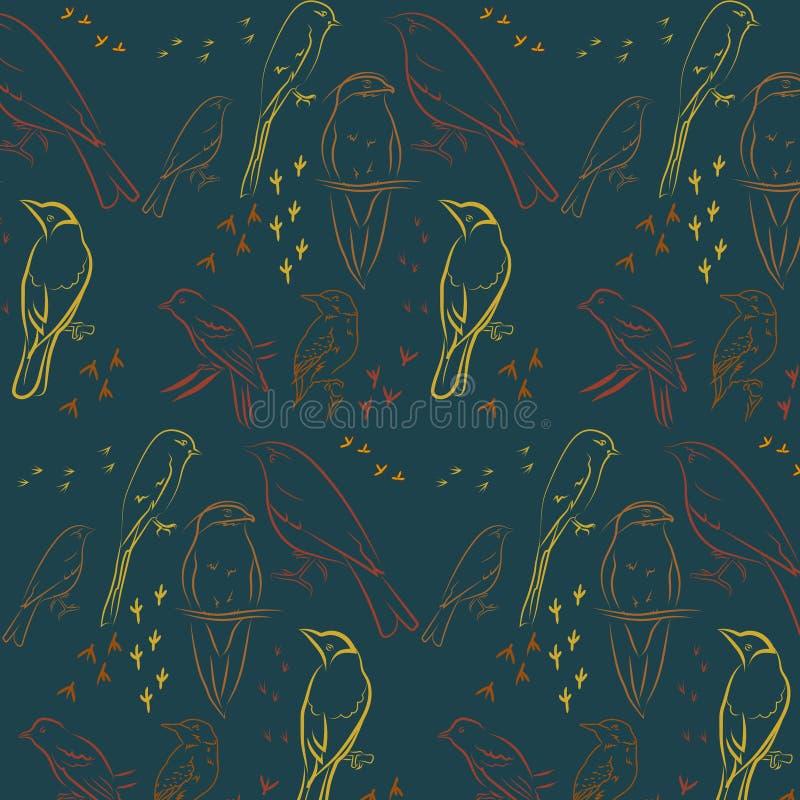 Naadloos patroon met vogels Donkere turkooise achtergrond stock illustratie