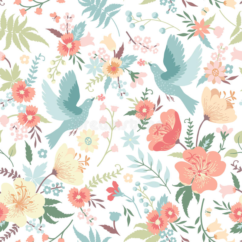 Naadloos patroon met vogels en bloemen vector illustratie