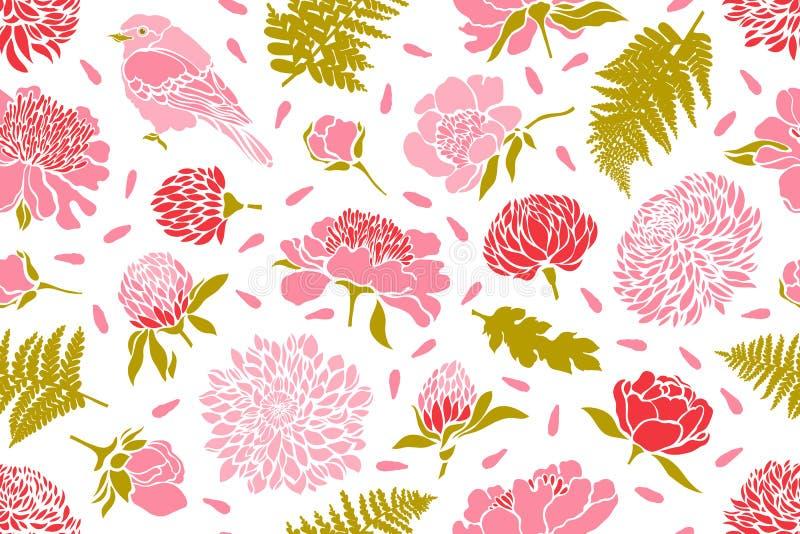 Naadloos patroon met vogels en bloemen Pioen, chrysant, klaver, tulp, varen vector illustratie