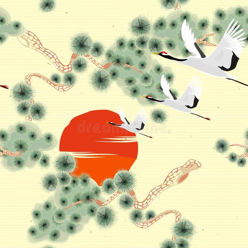Naadloos patroon met vogels het vliegen Kranen & pijnboomboom Japans patroon Illustratie vector illustratie