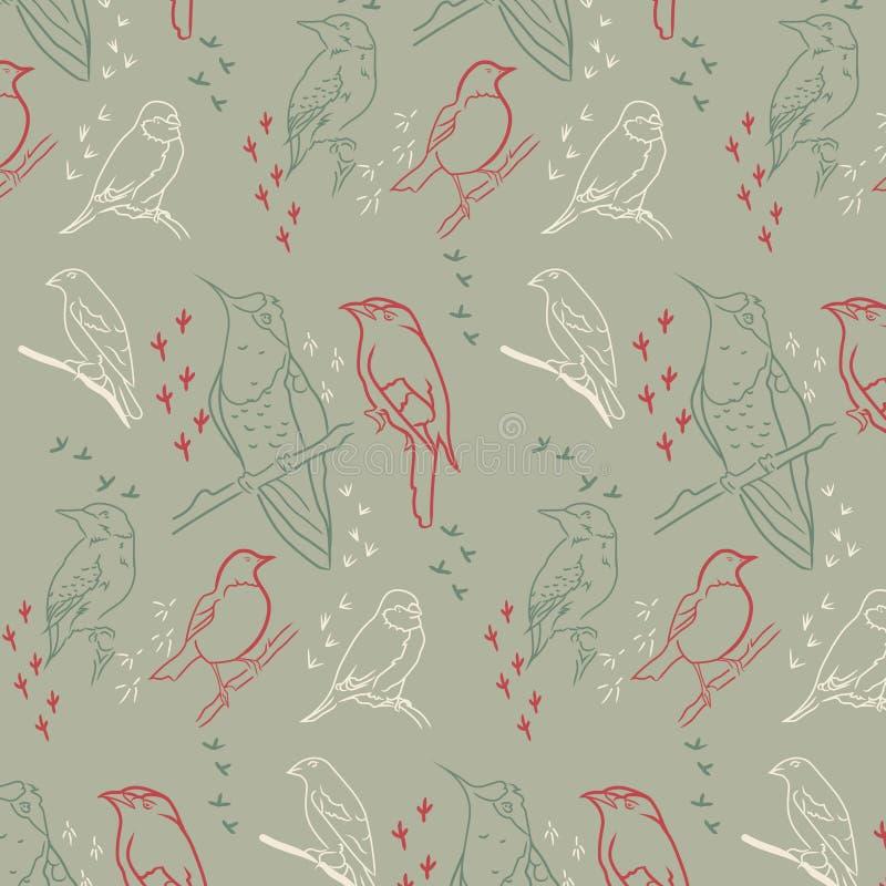 Naadloos patroon met vogels Kaki-gekleurde achtergrond vector illustratie