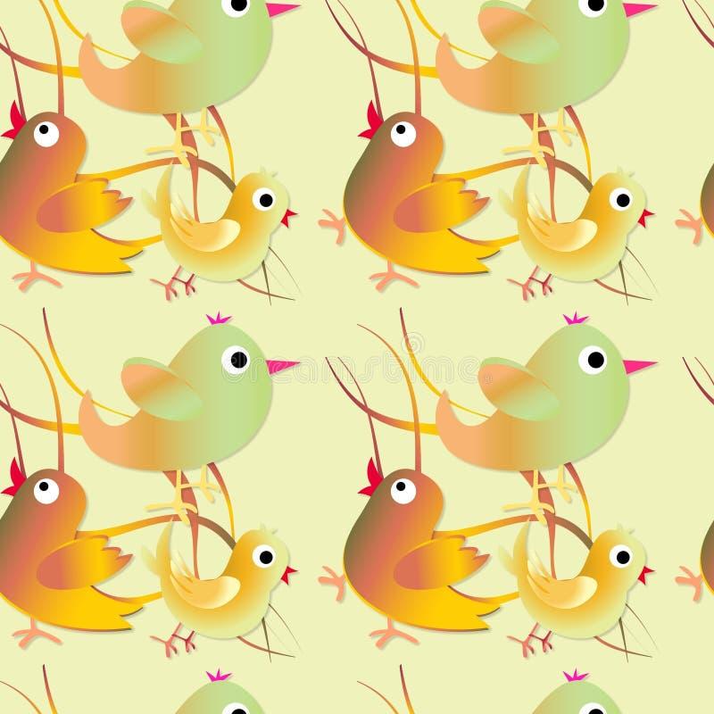 Naadloos patroon met vogels Kinderachtige illustratie in beeldverhaalstijl stock illustratie