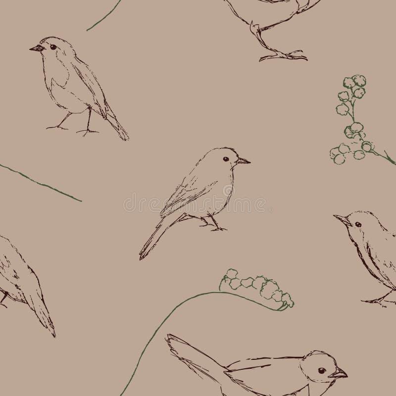 Naadloos patroon met vogelssilhouet royalty-vrije illustratie
