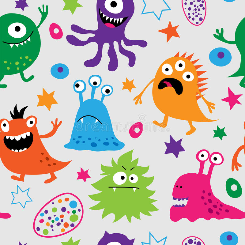 Naadloos patroon met vreemde monsters stock illustratie
