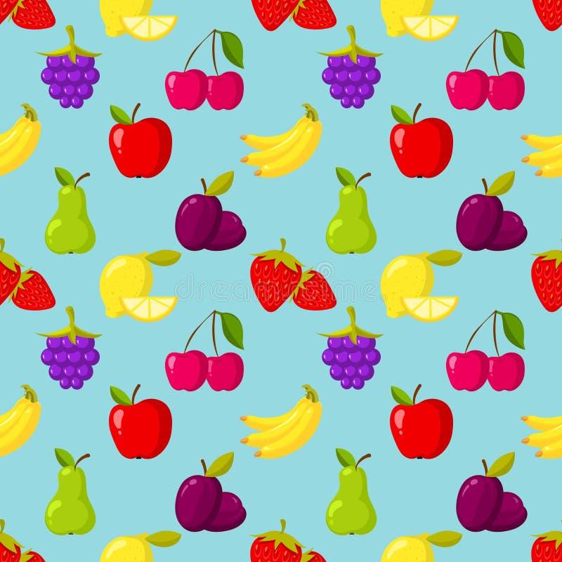 Naadloos patroon met vruchten en bessen stock illustratie