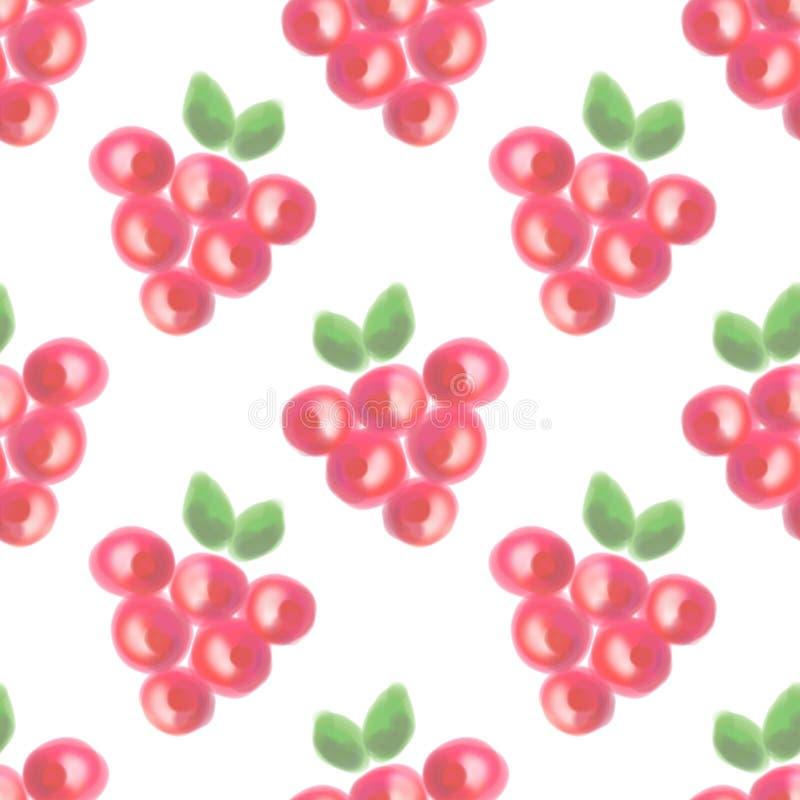 Naadloos patroon met vruchten Waterverfachtergrond met hand getrokken bessen royalty-vrije stock fotografie