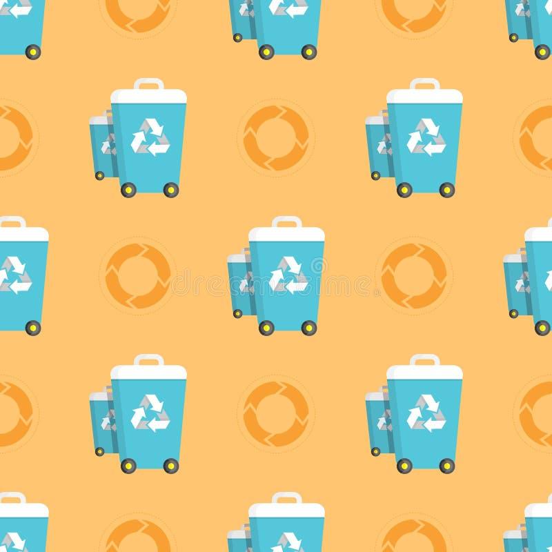 Naadloos Patroon met Vuilnisbakken en Recyclingscirkels stock illustratie