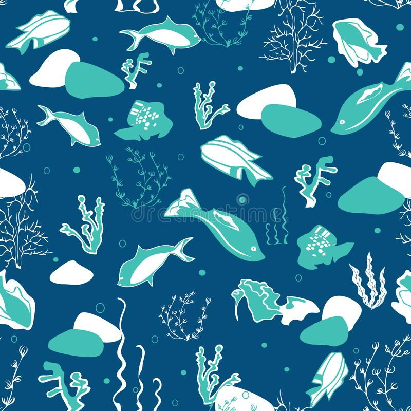 Naadloos patroon met walvissen, zeewieren, koralen en vissen stock fotografie