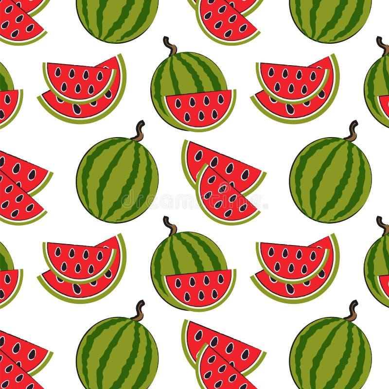 Naadloos patroon met watermeloen op de groene achtergrond royalty-vrije illustratie