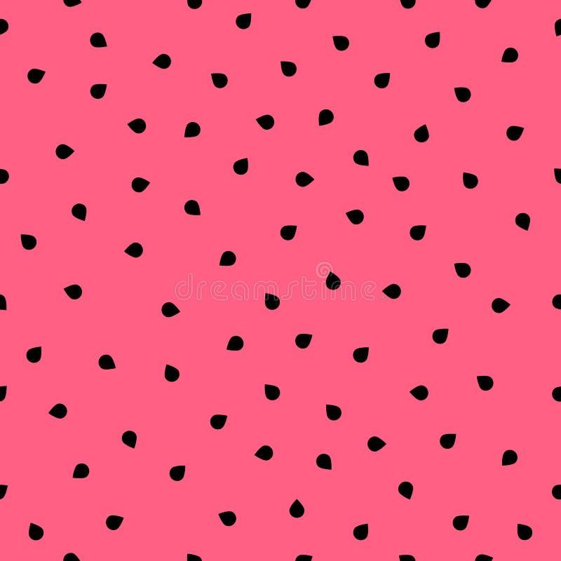 Naadloos patroon met watermeloenzaden De abstracte achtergrond van de vlees verse zomer met eenvoudige geometrische vormen royalty-vrije illustratie