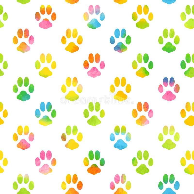 Naadloos patroon met waterverf dierlijke voetafdruk royalty-vrije illustratie