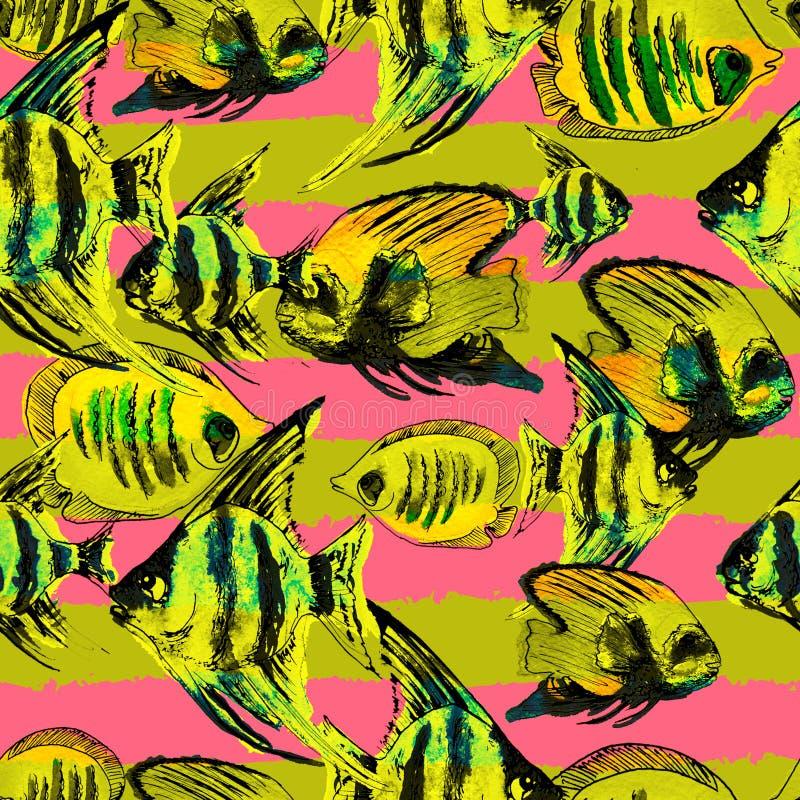 Naadloos Patroon met Waterverf Exotische Vissen en Horizontale Stri stock illustratie