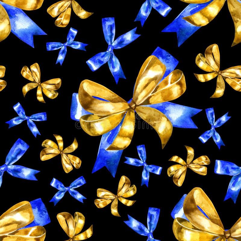 Naadloos patroon met waterverf gouden bogen op een zwarte achtergrond vector illustratie