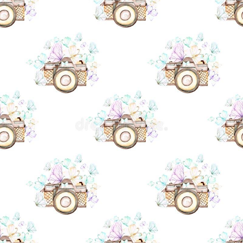 Naadloos patroon met waterverf retro camera's en vlinders stock illustratie