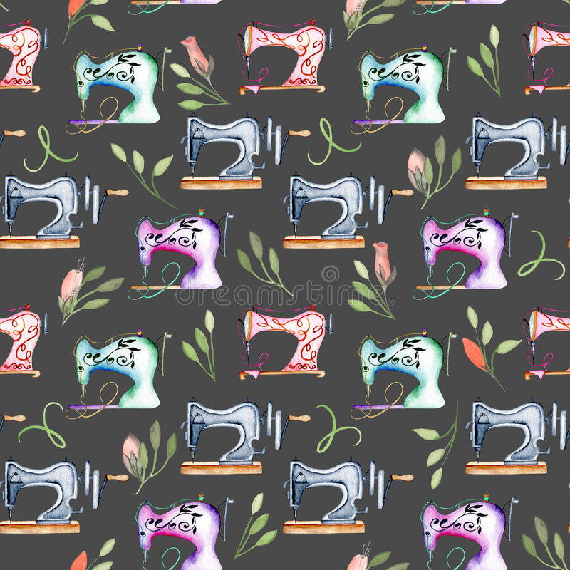 Naadloos patroon met waterverf retro naaimachines en bloemenelementen stock illustratie