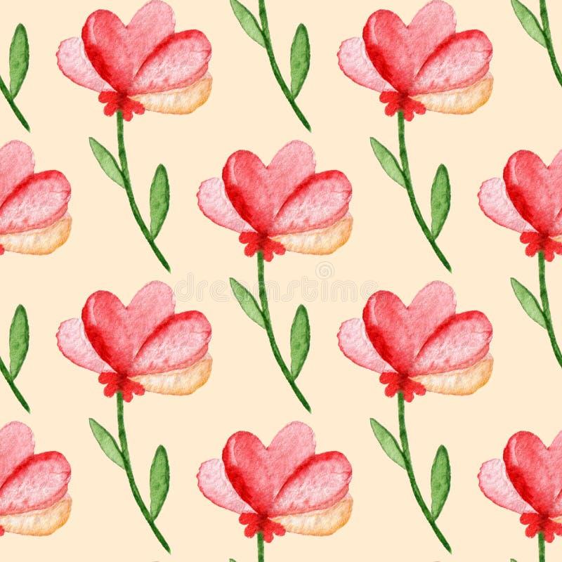 Naadloos patroon met waterverf rode bloemen Hand-drawn achtergrond royalty-vrije illustratie