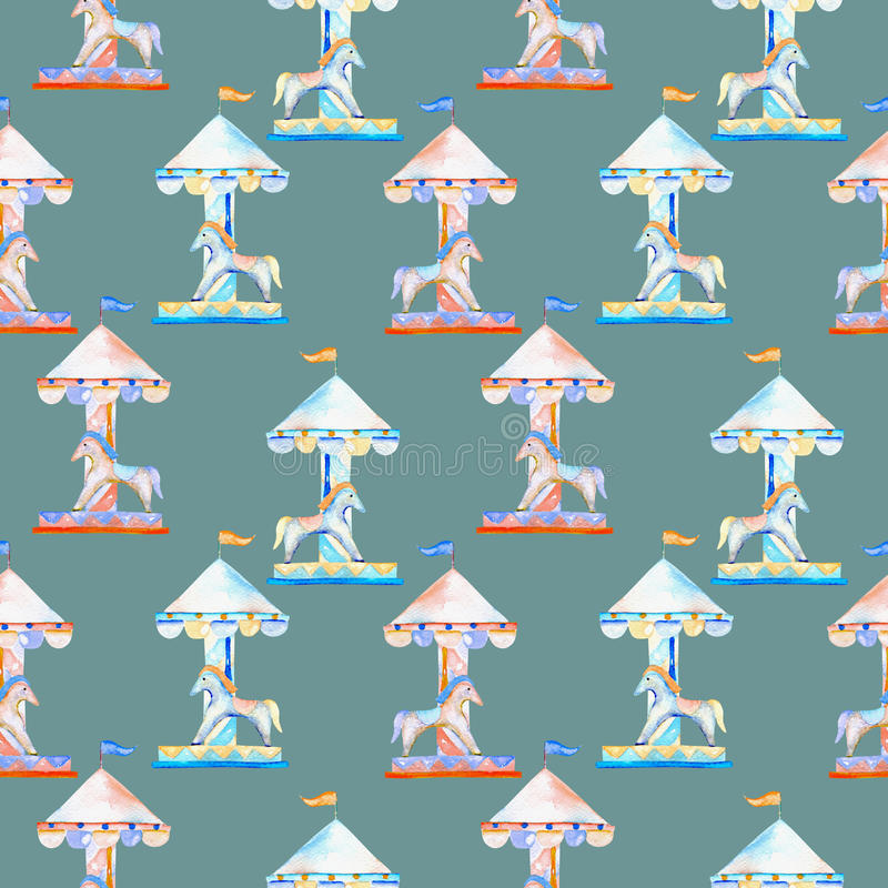 Naadloos patroon met waterverf rode en blauwe carrousel met paarden van het pretpark royalty-vrije illustratie