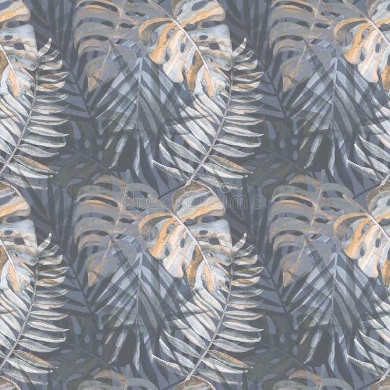 Naadloos patroon met waterverf tropische bladeren stock illustratie