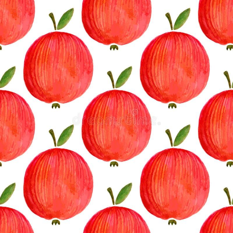 Naadloos patroon met waterverfappelen de appel van de illustratiewaterverf voor uw ontwerp vector illustratie