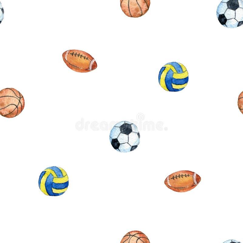 Naadloos patroon met waterverfballen royalty-vrije illustratie
