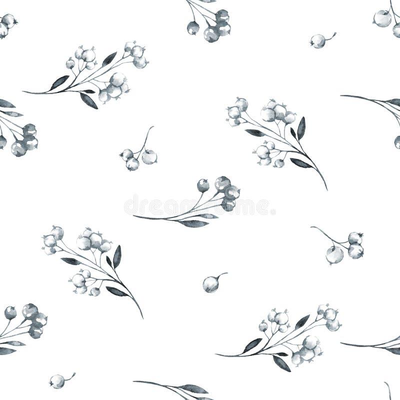 Naadloos patroon met waterverfbessen en kruiden Originele hand getrokken illustratie Botanische textuur zwart-wit stock illustratie