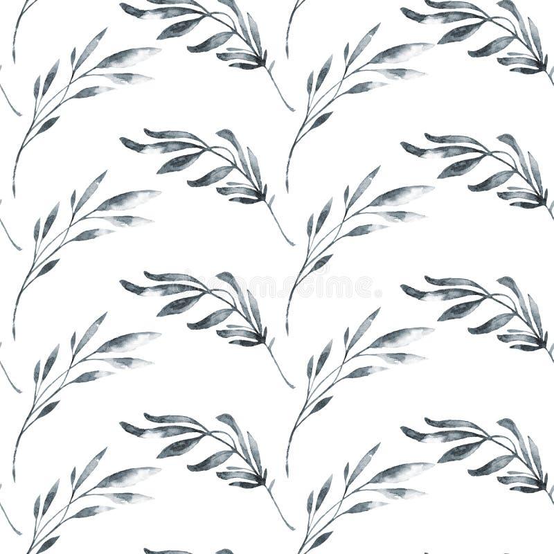 Naadloos patroon met waterverfbladeren en kruiden Originele hand getrokken illustratie Botanische textuur zwart-wit royalty-vrije illustratie