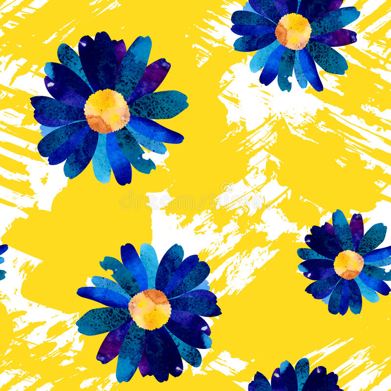 Naadloos patroon met waterverfbloemen royalty-vrije illustratie